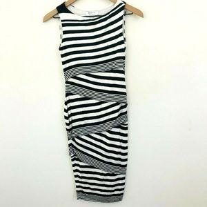 Bailey 44 Black White Stripe Midi Dress XS
